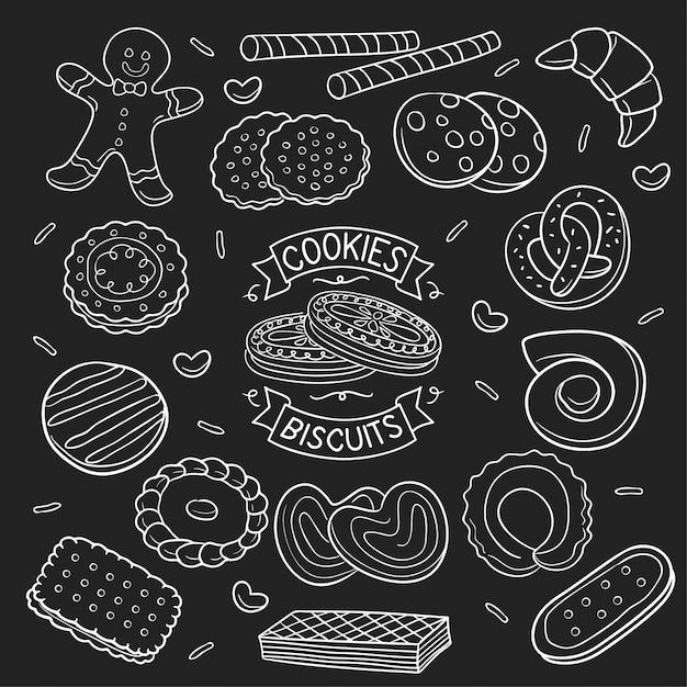 Набор каракули печенье и печенье в доске Premium векторы