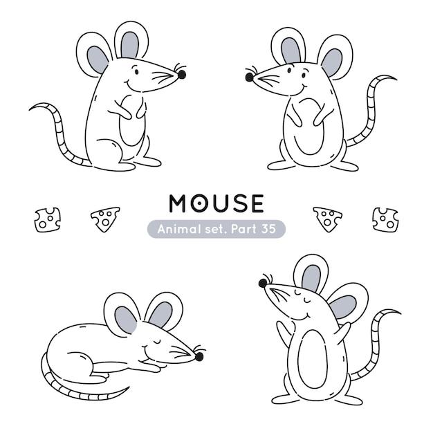 分離された様々なポーズで落書きマウスのセット Premiumベクター