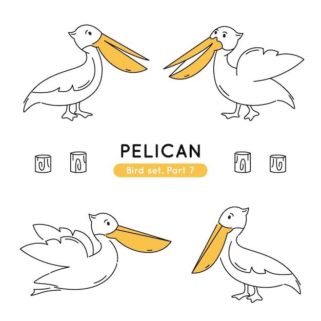 分離された様々なポーズで落書きペリカンのセット Premiumベクター