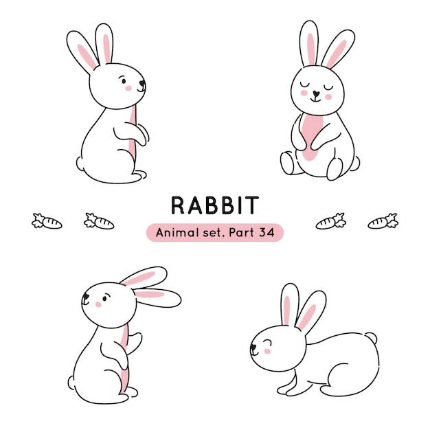 分離された様々なポーズで落書きウサギのセット Premiumベクター