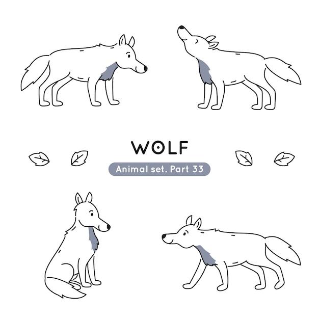 分離された様々なポーズで落書きオオカミのセット Premiumベクター