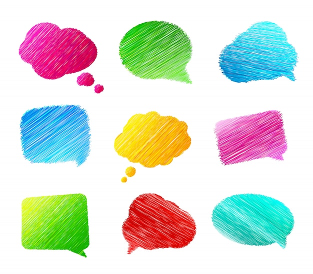 Набор каракулей речи пузыри на белом фоне. красочные баннеры в стиле эскиза Premium векторы