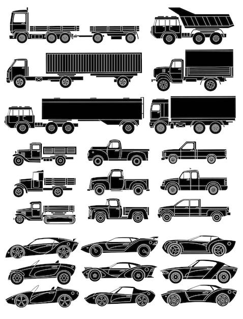 Набор нарисованных автомобилей сбоку. черный силуэт с детализированными деталями Premium векторы