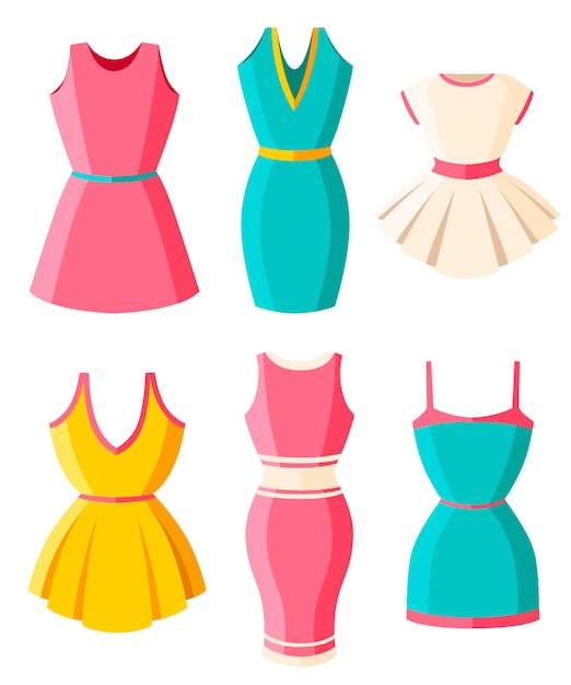 ドレスのセット。女性のための服。女性の明るい色の夏のドレス。 。白い背景のイラスト。 webサイトページとモバイルアプリ。 Premiumベクター