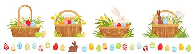 Набор пасхальных корзин к празднику. корзинки с крашеными яйцами, тюльпанами, куличом и кроликом. Premium векторы