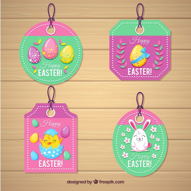 Set of easter day labels with eggs and cute animals