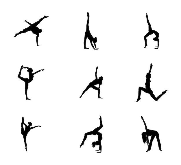 Набор easy gymnastic poses силуэт Premium векторы