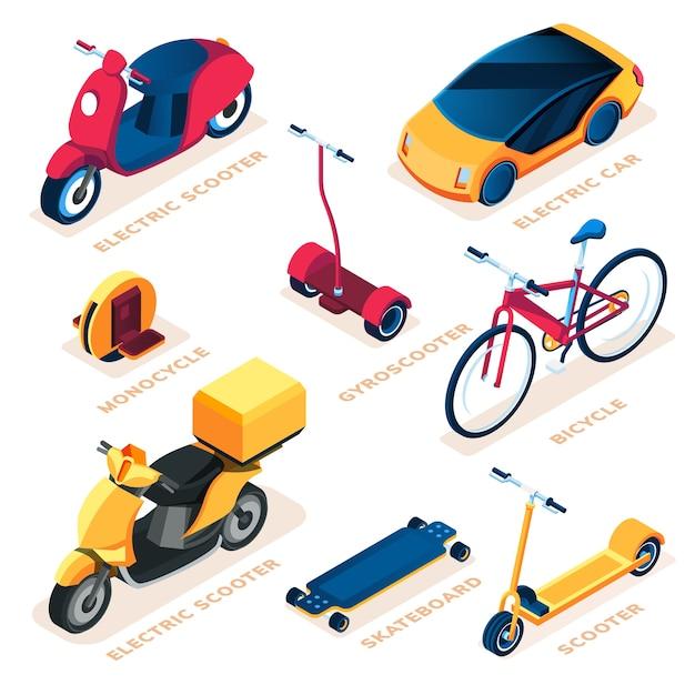Набор эко или экологического транспортного средства. Premium векторы