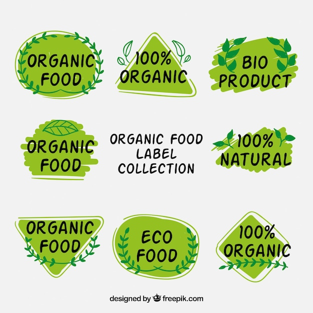 Set of ecological stickers with natural details