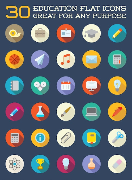 Набор образовательных плоских иконок может быть использован в качестве логотипа или значка в премиальном качестве Premium векторы
