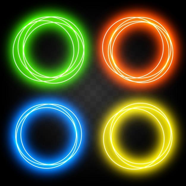 Набор эффектов неоновых кругов для дизайна. абстрактные блестящие светлые круги Premium векторы