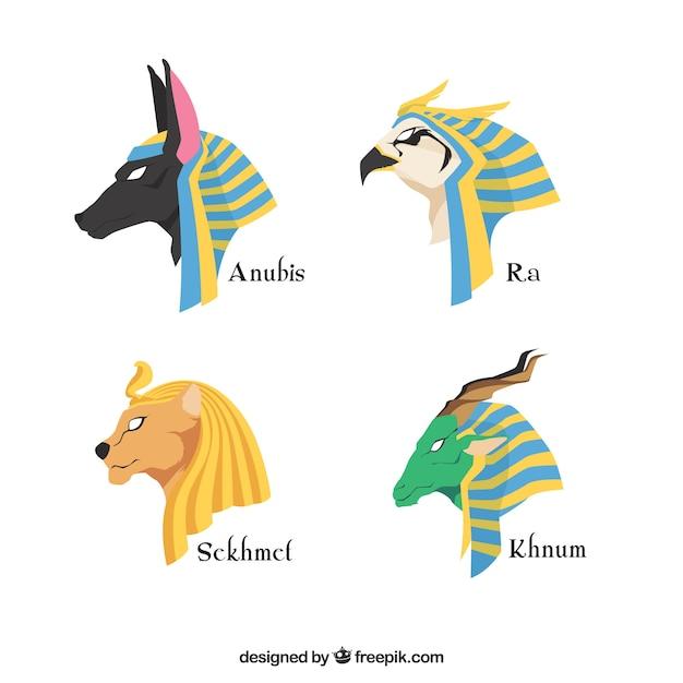 Set Of Egypt Gods And Symbols Vector Free Download