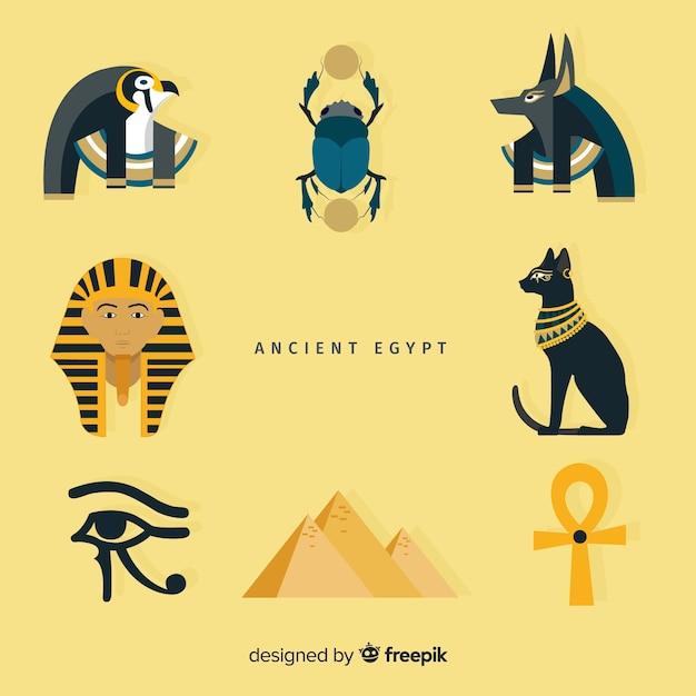 Набор египетских символов в плоском дизайне Бесплатные векторы