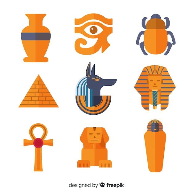 Set Of Egyptian Symbols In Flat Design Vector Free Download