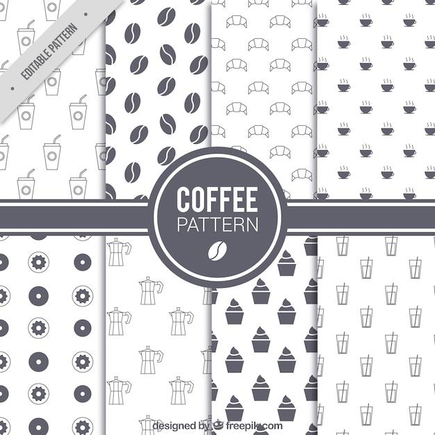Набор из восьми образцов кофе в плоском дизайне Premium векторы