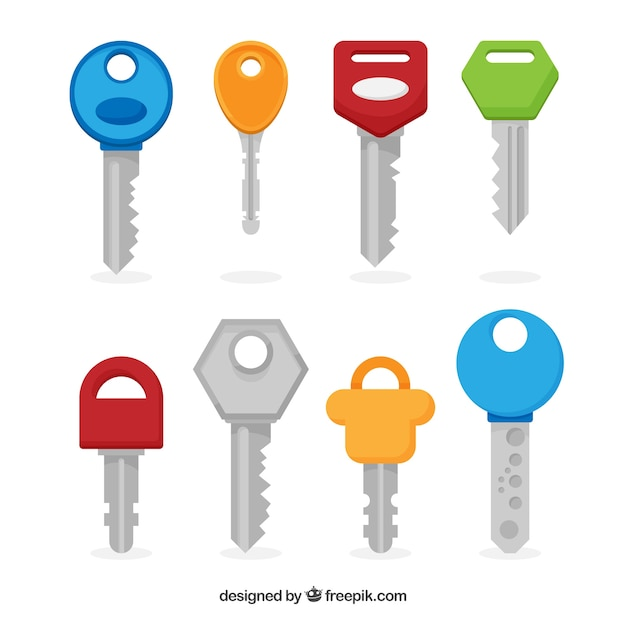 Set Of Eight Colorful Keys Vector