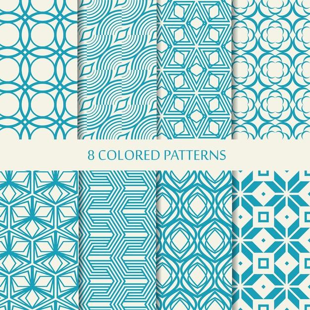 Набор из восьми бесшовных шевронов синего и белого цветов с коллекцией различных стильных форм и повторяющихся элементов шеврона Бесплатные векторы
