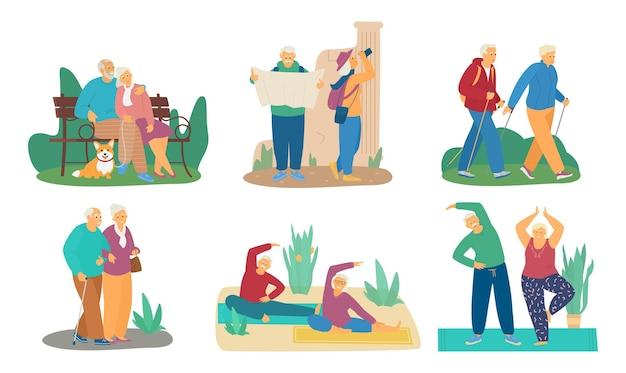 さまざまな活動をしている老夫婦のセット。犬と一緒に公園のベンチに座って、旅行、ノルディックウォーキング、運動。白で隔離。 Premiumベクター