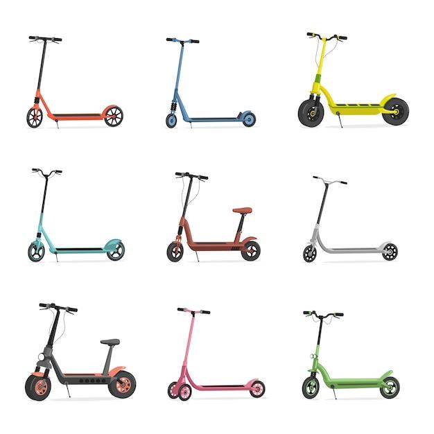 Комплект электросамокатов. синие, красные, розовые, зеленые, серые и желтые скутеры на белом фоне. Premium векторы