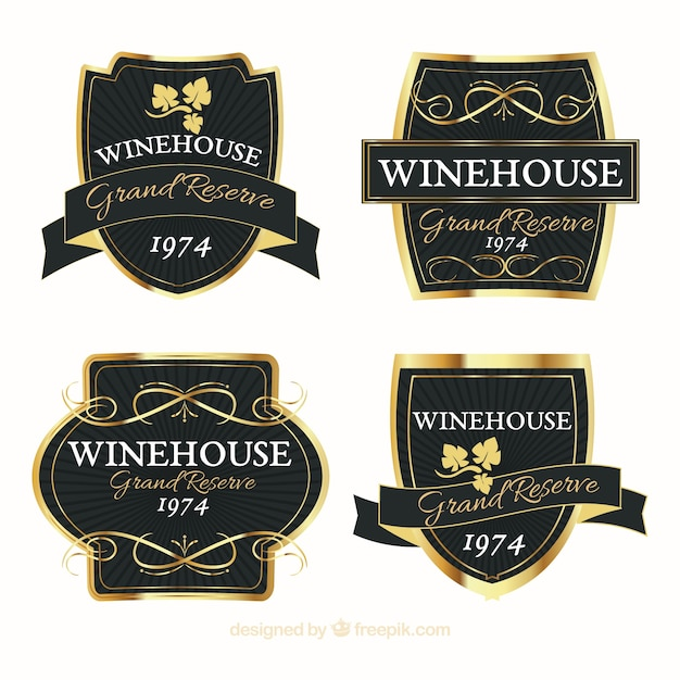 Set of elegant and golden wine stickers Vector | Free Download