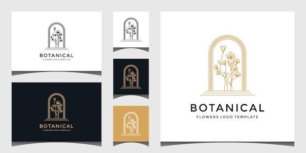 エレガントな植物の花のロゴのセット Premiumベクター