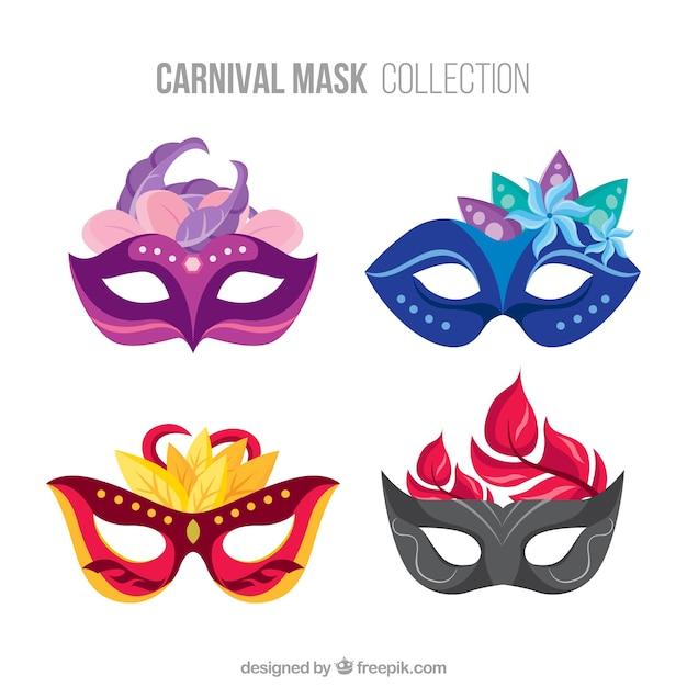 set of elegant carnival masks vector free download