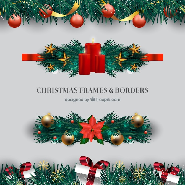 Set of elegant christmas borders Free Vector