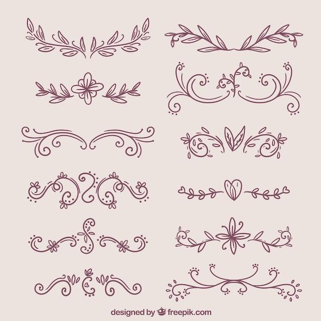Set of elegant decorative hand drawn borders