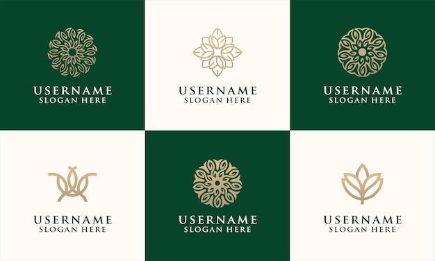 ファッション、サロン、スパ、ヨガのロゴのエレガントな花のロゴのデザインテンプレートのセット Premiumベクター