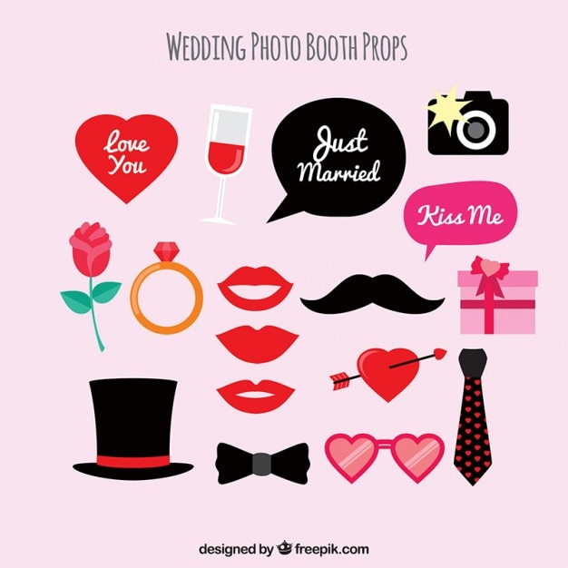 Set Of Elegant Wedding Accessories For Photo Booth Vector