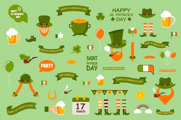 Набор элементов на зеленом фоне. день святого патрика отмечают в ирландии. набор шаблонов тематических элементов. Premium векторы