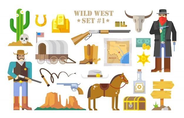 野生の西をテーマにした要素のセット。カウボーイ。野生の西での生活。アメリカの発展。モダンなフラットスタイル。パート1。 Premiumベクター