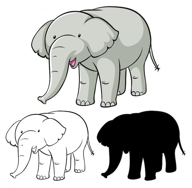 코끼리 만화 세트 무료 벡터