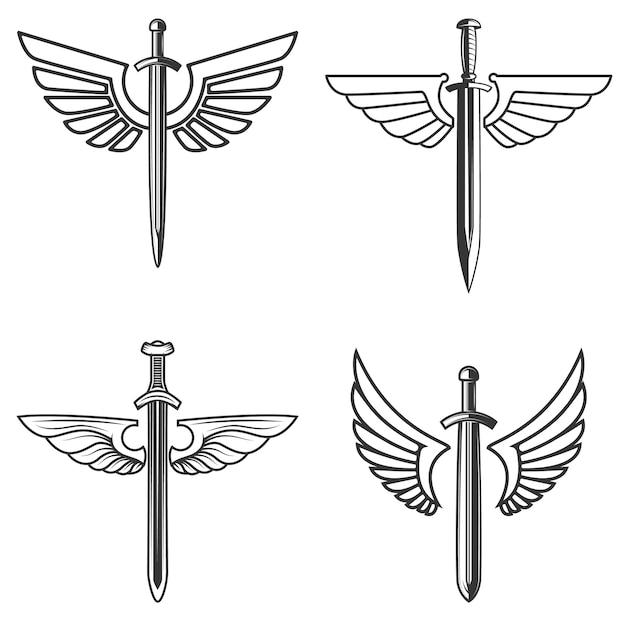 Набор эмблем со средневековым мечом и крыльями. элемент для логотипа, этикетки, эмблемы, знака. иллюстрация Premium векторы