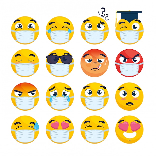 医療マスクを身に着けている絵文字、白いサージカルマスクと黄色の顔、コロナウイルスの発生のアイコンのセット Premiumベクター