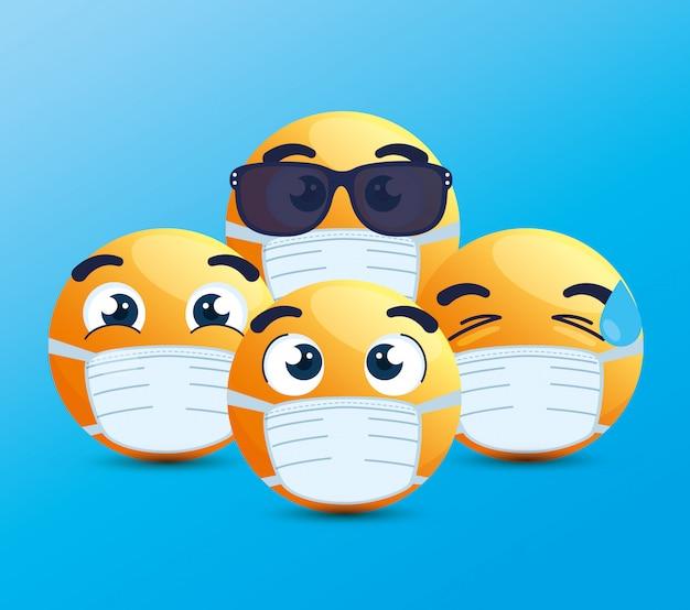 Набор смайликов в медицинской маске, желтые лица с белыми хирургическими масками, иконки для вспышки коронавируса Premium векторы