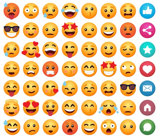 ソーシャルメディアの絵文字漫画絵文字笑顔のセット Premiumベクター