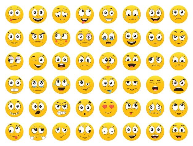 Набор смайликов. emoji. улыбка. изолированная иллюстрация на белом фоне Premium векторы