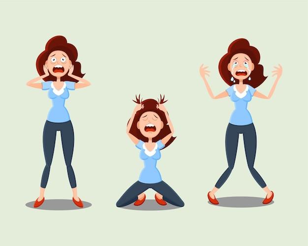 感情のセット。女性は恐怖、恐怖、鬱病、悲しみ、ストレスを経験しています。 Premiumベクター