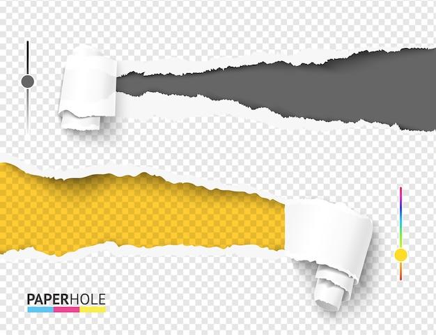 Набор пустых разноцветных рваных бумажных отверстий с правой и левой стороны баннера Premium векторы