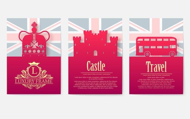 Набор концепции иллюстрации орнамент страны англии. Premium векторы