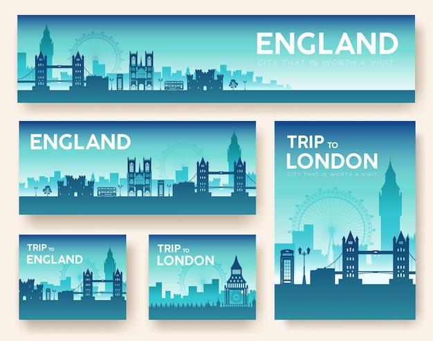 Набор англии пейзаж страны орнамент путешествия тур Premium векторы