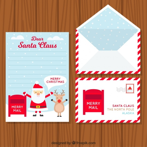 Set of envelope with postcard and letter for santa claus vector set of envelope with postcard and letter for santa claus free vector spiritdancerdesigns Images