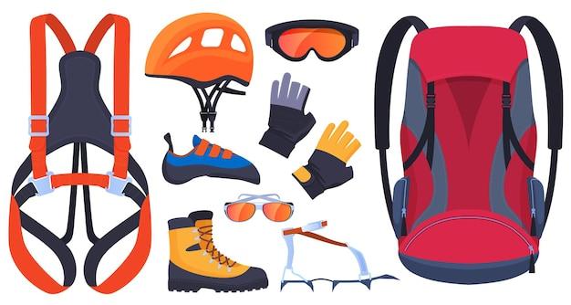 登山、登山者のための機器のセット。保険、カービン銃、ピッケル。ヘルメット、ブーツ、爪、手袋。エクストリームスポーツ。 Premiumベクター
