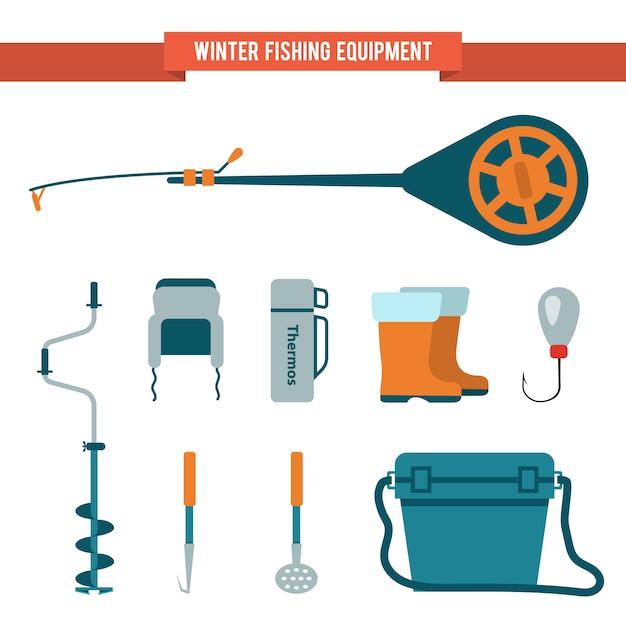 Комплект снаряжения для зимней рыбалки Premium векторы