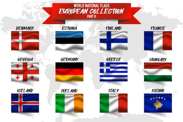 Набор национального флага европейской страны на фоне карты мира. Premium векторы