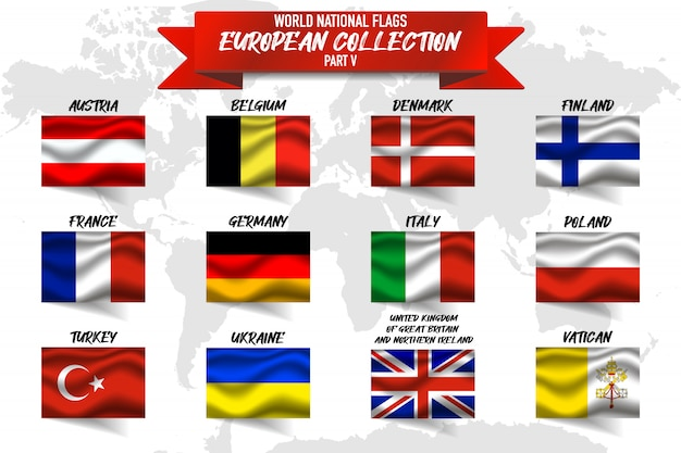 世界地図背景にヨーロッパの国の国旗のセット。 Premiumベクター