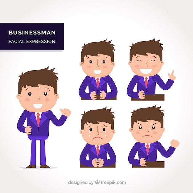 Character Design Vector Free Download : Set of expressive businessman character in flat design