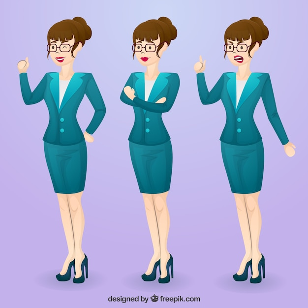 Set of expressive businesswoman\ character