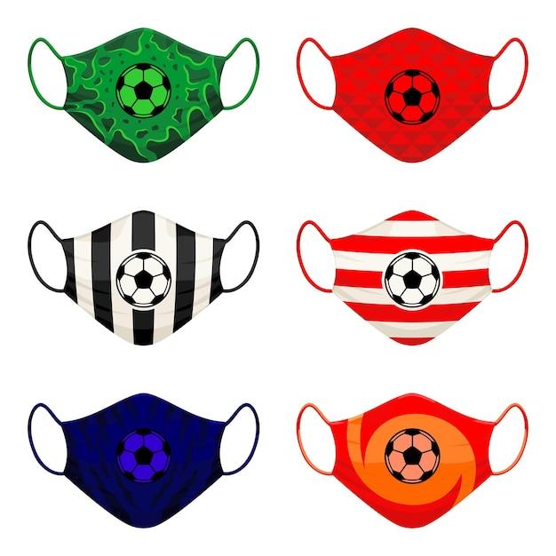 サッカーチームのサポーターのためのフェイスマスクデザインのセット Premiumベクター